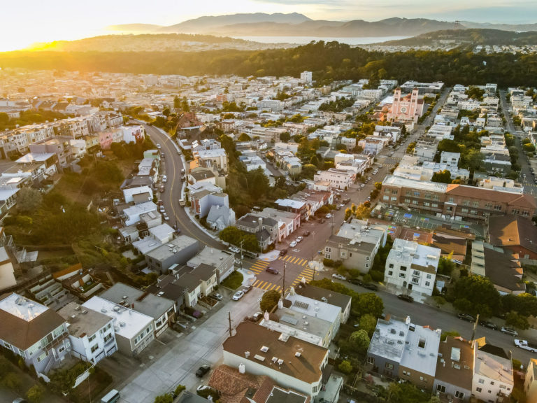 aerial view of the Inner Sunset San Francisco
